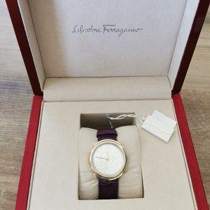 Salvatore Ferragamo Logomania Leather Strap Watch